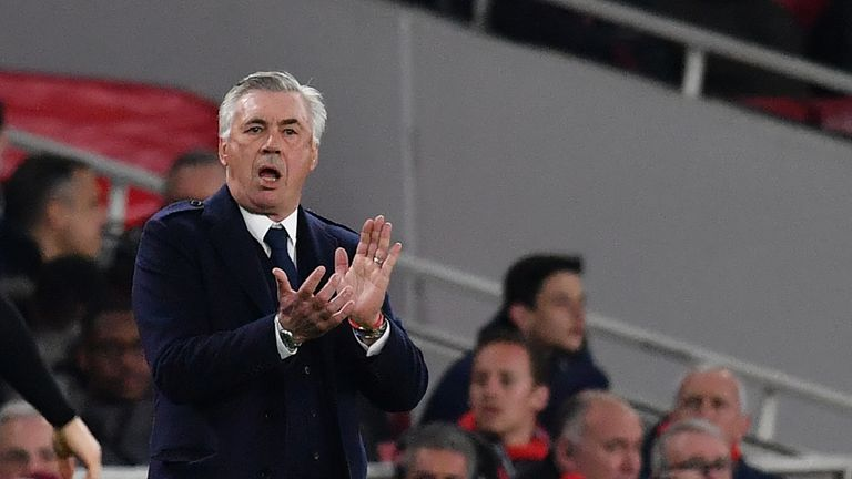 Napoli's manager Carlo Ancelotti gestures during the UEFA Europa League quarter final, first leg, football match between Arsenal and Napoli at the Emirates Stadium in London on April 11, 2019.