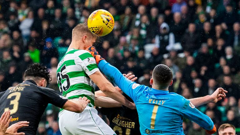 Kristoffer Ajer misses a first-half chance