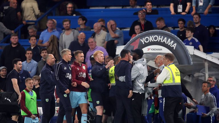 Tempers flare on the touchline in the Premier League game between Chelsea and Burnley