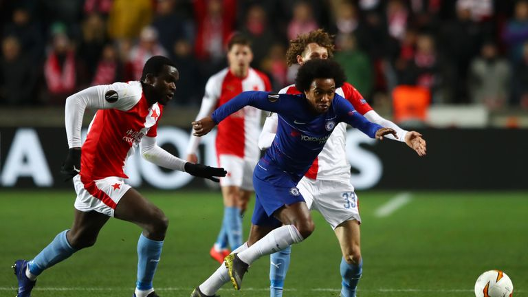 Chelsea midfielder Willian in action against Slavia Prague