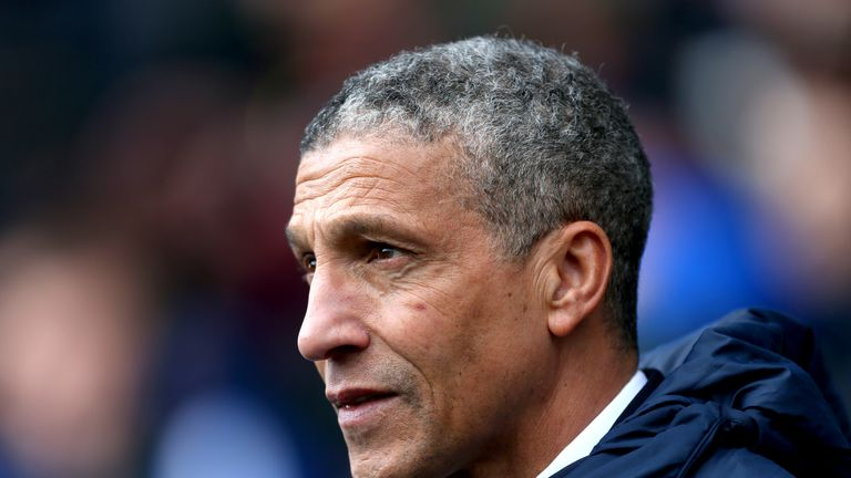 Hughton's Brighton have lost four Premier League games in a row