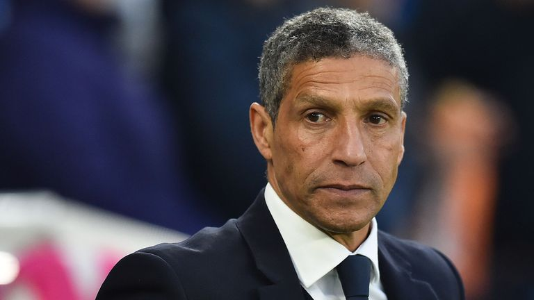 Brighton's Irish manager Chris Hughton arrives for the English Premier League football match between Brighton and Hove Albion and Cardiff City at the American Express Community Stadium in Brighton, southern England on April 19, 2019.