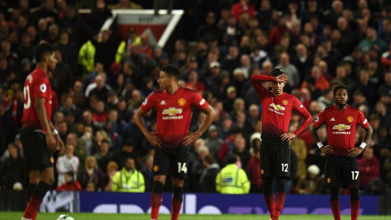 Chris Smalling and Fred look dejected with Manchester United 2-0 down at home to Manchester City