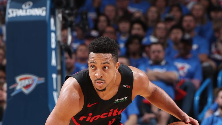 CJ McCollum #3 of the Portland Trail Blazers handles the ball against the Oklahoma City Thunder during Game Four of Round One of the 2019 NBA Playoffs on April 21, 2019 at Chesapeake Energy Arena in Oklahoma City, Oklahoma.