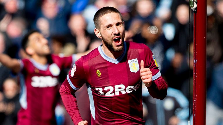 Conor Hourihane scores during the Sky Bet Championship match between Aston Villa and Bristol City at Villa Park on April 13, 2019