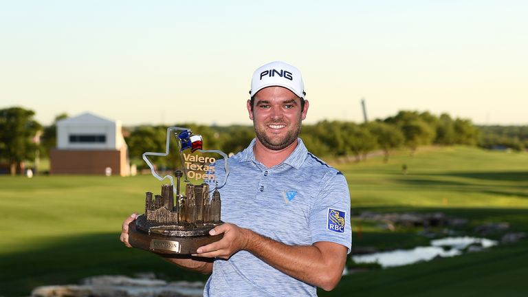 Conners proudly displays the Valero Texas Open trophy