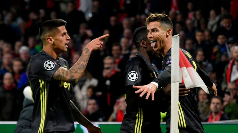 Cristiano Ronaldo opened the scoring against Ajax, before David Neres' equaliser