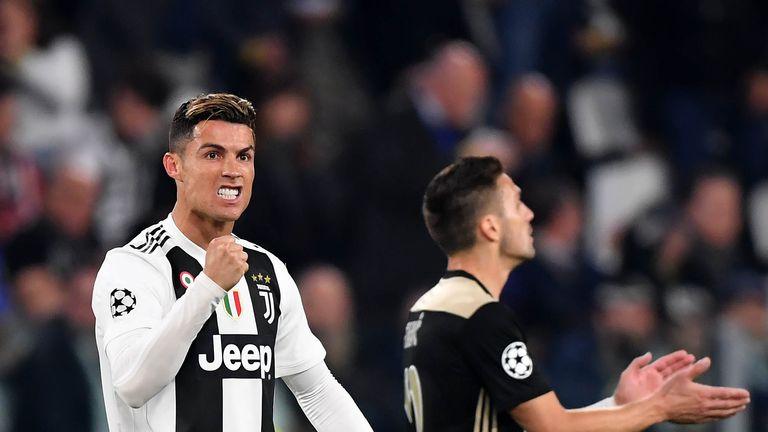 Cristiano Ronaldo celebrates scoring for Juventus in the Champions League against Ajax