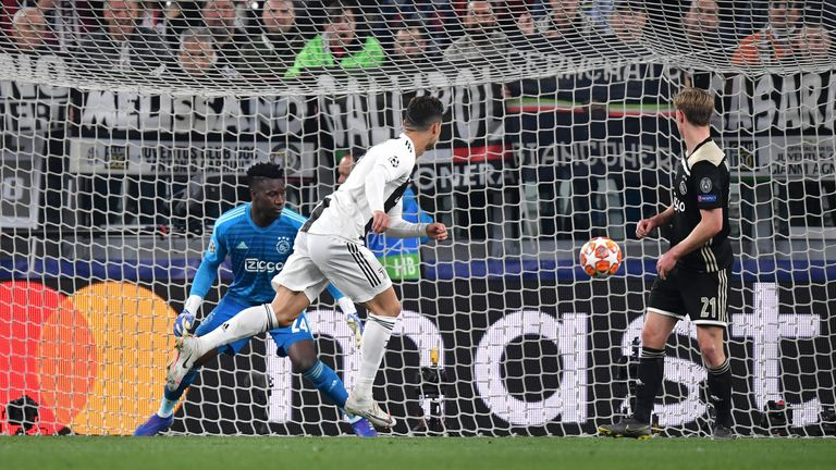 Cristiano Ronaldo heads in the opener after 28 minutes in Turin