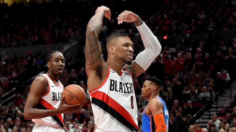Damian Lillard #0 of the Portland Trail Blazers reacts during play against the Oklahoma City Thunder in the first quarter at Moda Center on April 14, 2019 in Portland, Oregon.