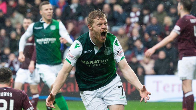 Hibernian's Daryl Horgan scored twice in the Edinburgh derby