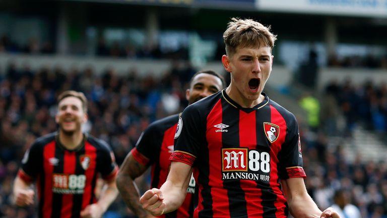 David Brooks celebrates after scoring Bournemouth's third goal