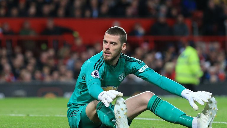 A dejected David De Gea during the Manchester derby at Old Trafford on April 24, 2019
