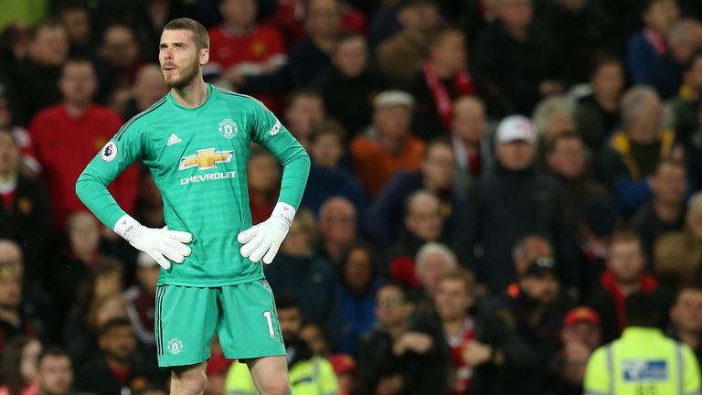 David de Gea during the Manchester derby at Old Trafford