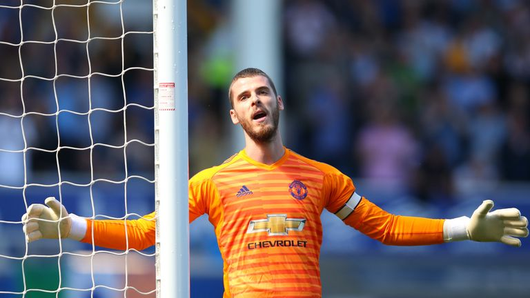David De Gea of Manchester United reacts during the Premier League match between Everton FC and Manchester United at Goodison Park on April 21, 2019 in Liverpool, United Kingdom.