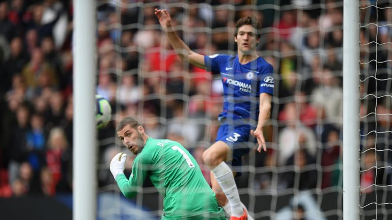 David de Gea looks on as Marcos Alonso equalises for Chelsea on Sunday