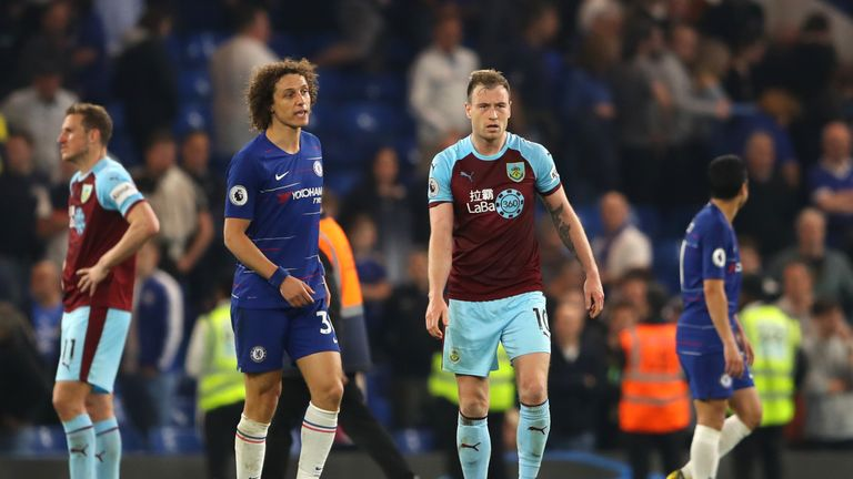Chelsea's David Luiz remonstrates with Burnley forward Ashley Barnes