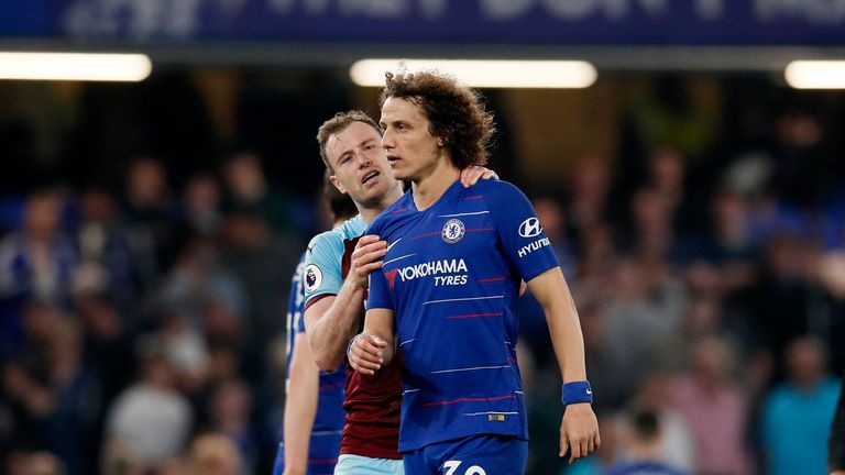 Chelsea's David Luiz argues with Burnley's Ashley Barnes during the Premier League match at Stamford Bridge, London. Picture date: 22nd April 2019. Picture credit should read: David Klein/Sportimage via PA Images