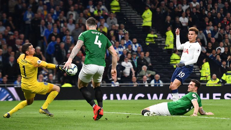 Shane Duffy and Mat Ryan keep out Dele Alli's effort in Spurs vs Brighton