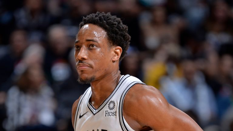 DeMar DeRozan #10 of the San Antonio Spurs is seen during the game against the Denver Nuggets during Game Three of Round One of the 2019 NBA Playoffs on April 18, 2019 at the AT&T Center in San Antonio, Texas.