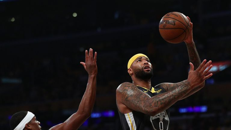 DeMarcus Cousins #0 of the Golden State Warriors drives to the basket against Rajon Rondo #9 of the Los Angeles Lakers during the first half at Staples Center on April 04, 2019 in Los Angeles, California.