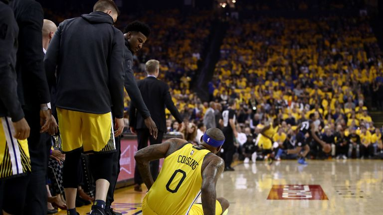 DeMarcus Cousins goes down after injuring his left quad in Game 2 of Round One against the LA Clippers during the 2019 NBA Playoffs