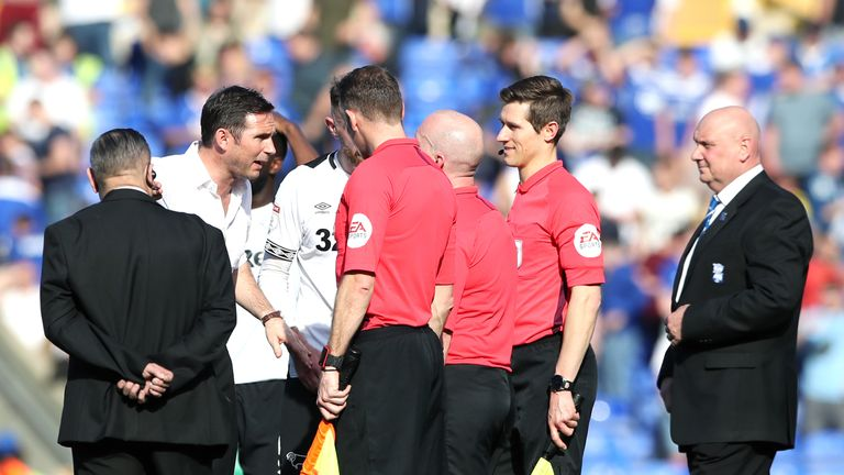 Frank Lampard speaks to the match officials after Derby's 2-2 draw at Birmingham