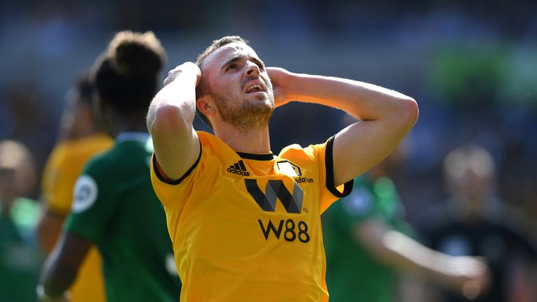 Diogo Jota missed one of a number of Wolves chances