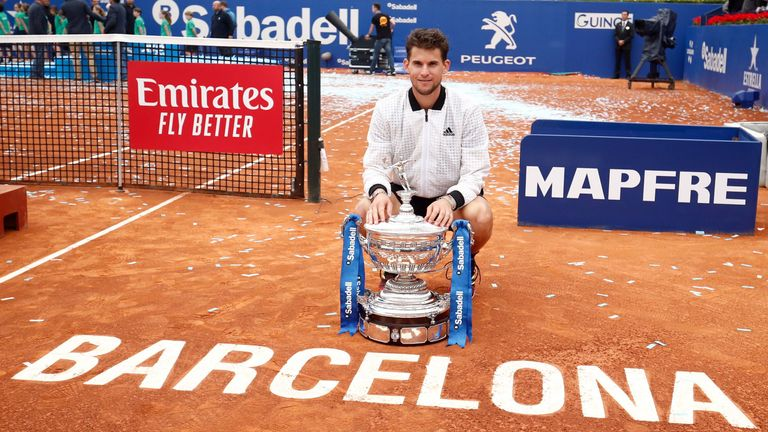 Thiem poses with his trophy after defeating Russia's Daniil Medvedev in Barcelona