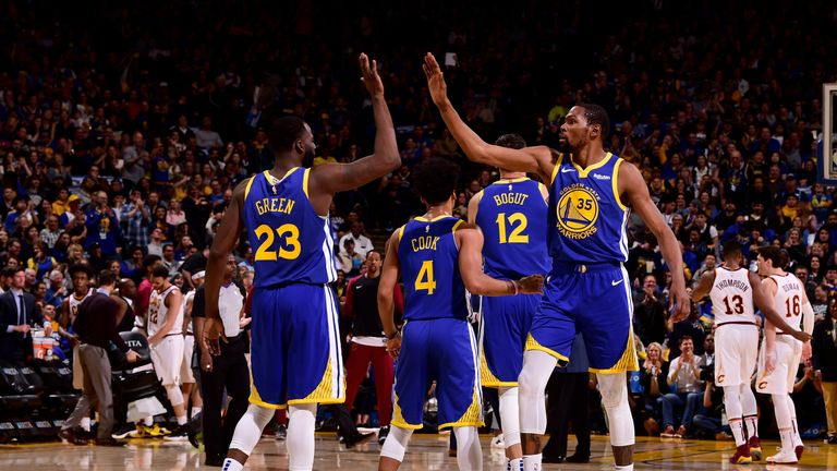 8b9150c9ebb Draymond Green  23 of the Golden State Warriors and Kevin Durant  35 react  to