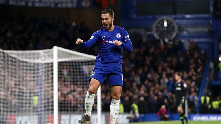 Eden Hazard celebrates making it 2-0