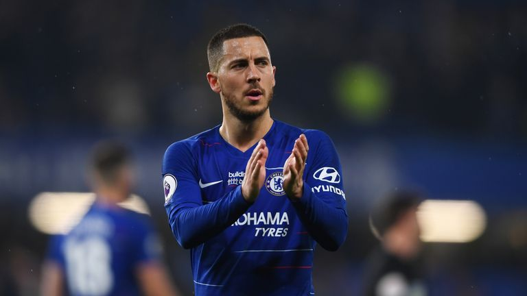 Eden Hazard applauds the crowd after Chelsea's 2-0 victory over West Ham