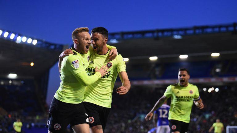 Enda Stevens (right) celebrates scoring for Sheffield United against Birmingham