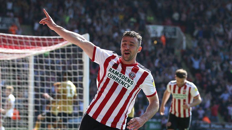 Enda Stevens celebrates scoring Sheffield United's second goal of the game