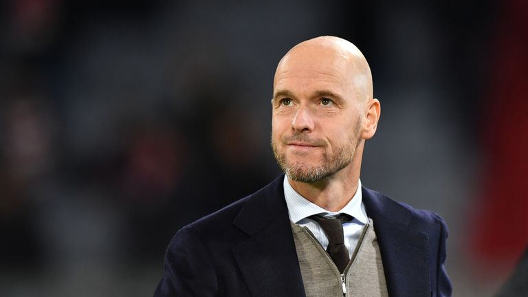 Head coach Erik Ten Hag of Ajax looks on prior to the Group E match of the UEFA Champions League between FC Bayern Muenchen and Ajax at Allianz Arena on October 2, 2018 in Munich, Germany.