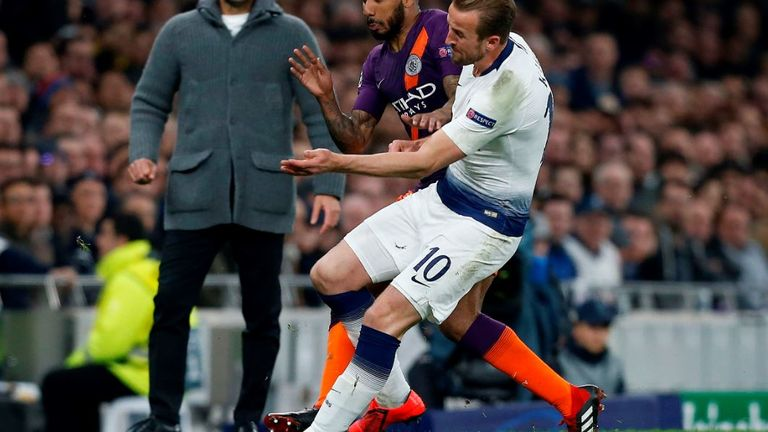 Fabian Delph stood on Kane's ankle as the pair challenged for the ball