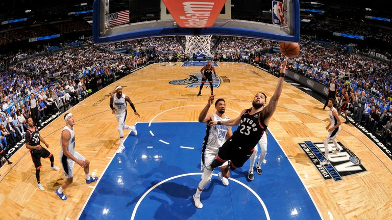 Fred VanVleet of the Toronto Raptors shoots off balance shot against the Orlando Magic during Game Four of Round One of the 2019 NBA Playoffs
