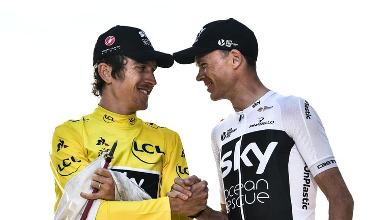 Froome, right, congratulates Thomas on his Tour de France victory in 2018