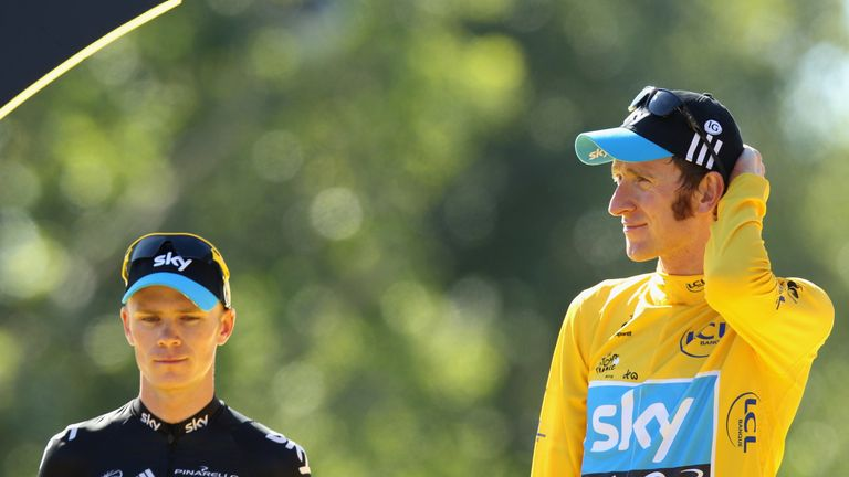 Chris Froome, left, and Bradley Wiggins on the Tour De France podium in 2012