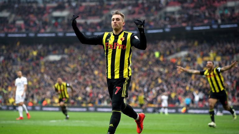 Gerard Deulofeu celebrates scoring for Watford against Wolves in the FA Cup semi-final