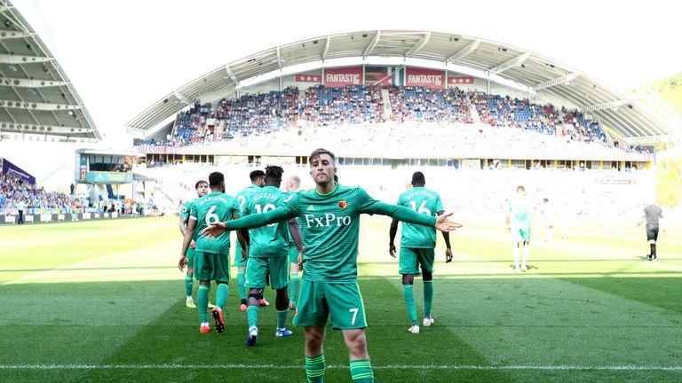 Gerard Deulofeu celebrates scoring his and Watford's second goal