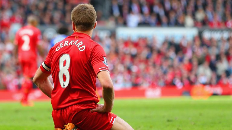 Liverpool midfielder Steven Gerrard reacts after slipping against Chelsea in 2014