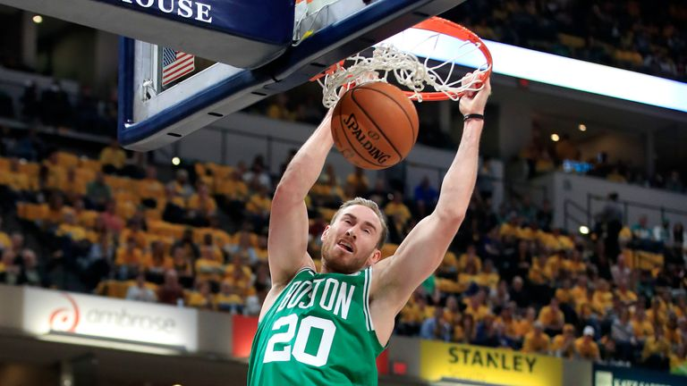 Gordon Hayward #20 of the Boston Celtics dunks the ball against the Indiana Pacers in game four of the first round of the 2019 NBA Playoffs at Bankers Life Fieldhouse on April 21, 2019 in Indianapolis, Indiana.