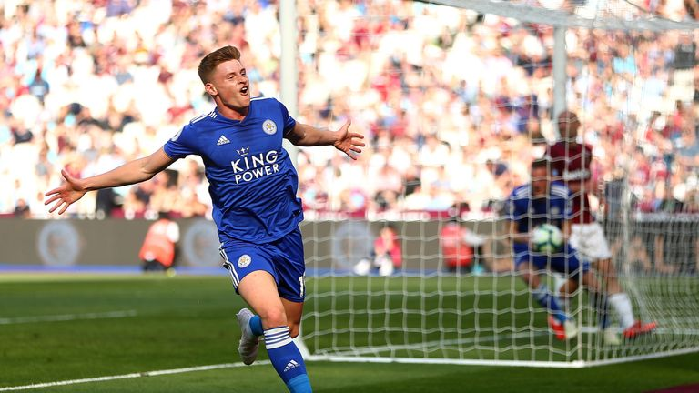 Harvey Barnes celebrates his late equaliser against West Ham at London Stadium
