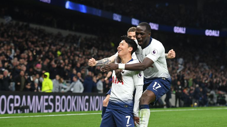 Heung-min Son celebrates with Moussa Sissoko and Kieran Trippier after putting Spurs ahead