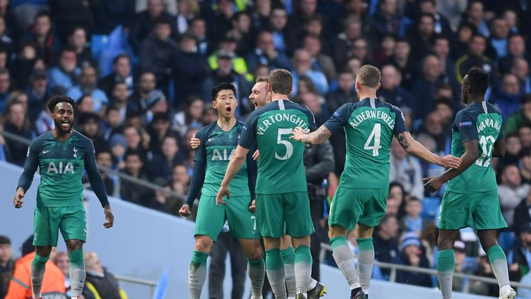 Heung-Min Son celebrates scoring Tottenham's first goal against Man City