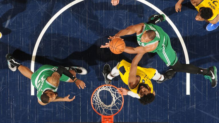Al Horford of the Boston Celtics shoots the ball against the Indiana Pacers during Game Four of Round One of the 2019 NBA Playoffs
