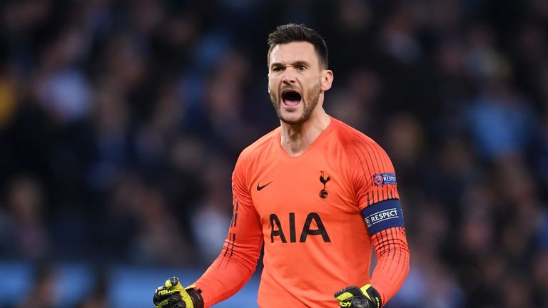 Hugo Lloris celebrates the first of Son's two strikes in the opening period