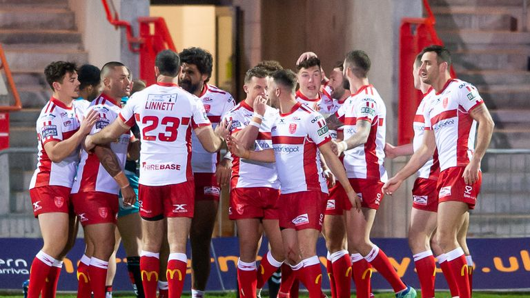 Hull KR celebrate Danny McGuire's try against his former club on Thursday