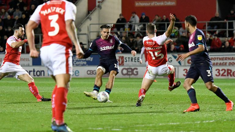 Jack Grealish scores for Aston Villa against Rotherham